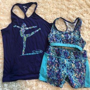 "GIRLS Reebok ""dance"" tank, sports bra & shorts"